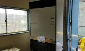 京都府八幡市で業務用床置型エアコン取付!京都・滋賀・大阪・奈良 エアコン工事はお任せ下さい!
