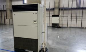 大規模倉庫に業務用エアコンを取り付け、工事完了!